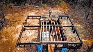 OFF GRID Wilderness KABINA Z BALI Budowa | Podkład z drewna Yakisugi i piwnica z korzeniami