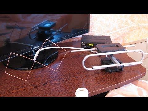 Самодельная антенна Биквадрат для цифрового телевидения Т2 . Тесты с активной заводской антенной.