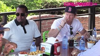 Diddy Takes Over Mark Wahlberg's 'Wahlburgers' Restaurant During Lunch With DJ Khaled 6.13.18
