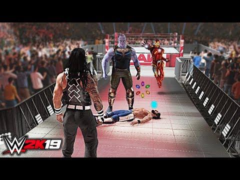 WWE 2K19 Custom Story - Thanos HiJack WWE for 7th Infinity Stone Raw 2019 ft. Reigns, Iron Man