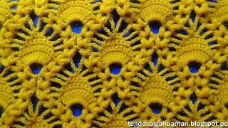 crochet : punto combinación de arañitas con punto garbanzo paso a paso