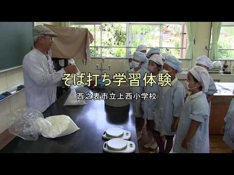 種子島の学校活動:上西小学校そば打ち学習体験2018年
