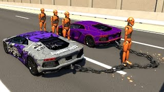 Chained Cars Crash Testing - BeamNG DRIVE