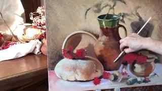 Живопись маслом,натюрморт, вторая прорисовка подмалевка