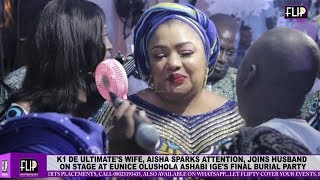 K1 DE ULTIMATE'S WIFE, FAITHIA SPARKS ATTENTION, JOINS HUSBAND ON STAGE AT ASHABI IGE BURIAL '