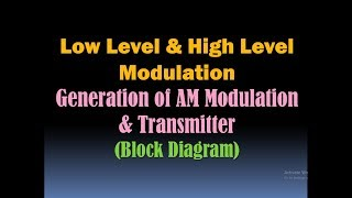 Low Level and High Level Modulation (Generation of AM Modulation, Block Diagram of AM Transmitter)