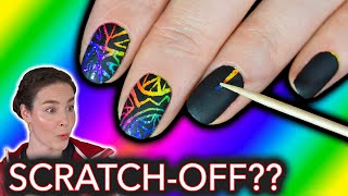 Rainbow Scratch-Off Nails (stress-relieving nail art search)