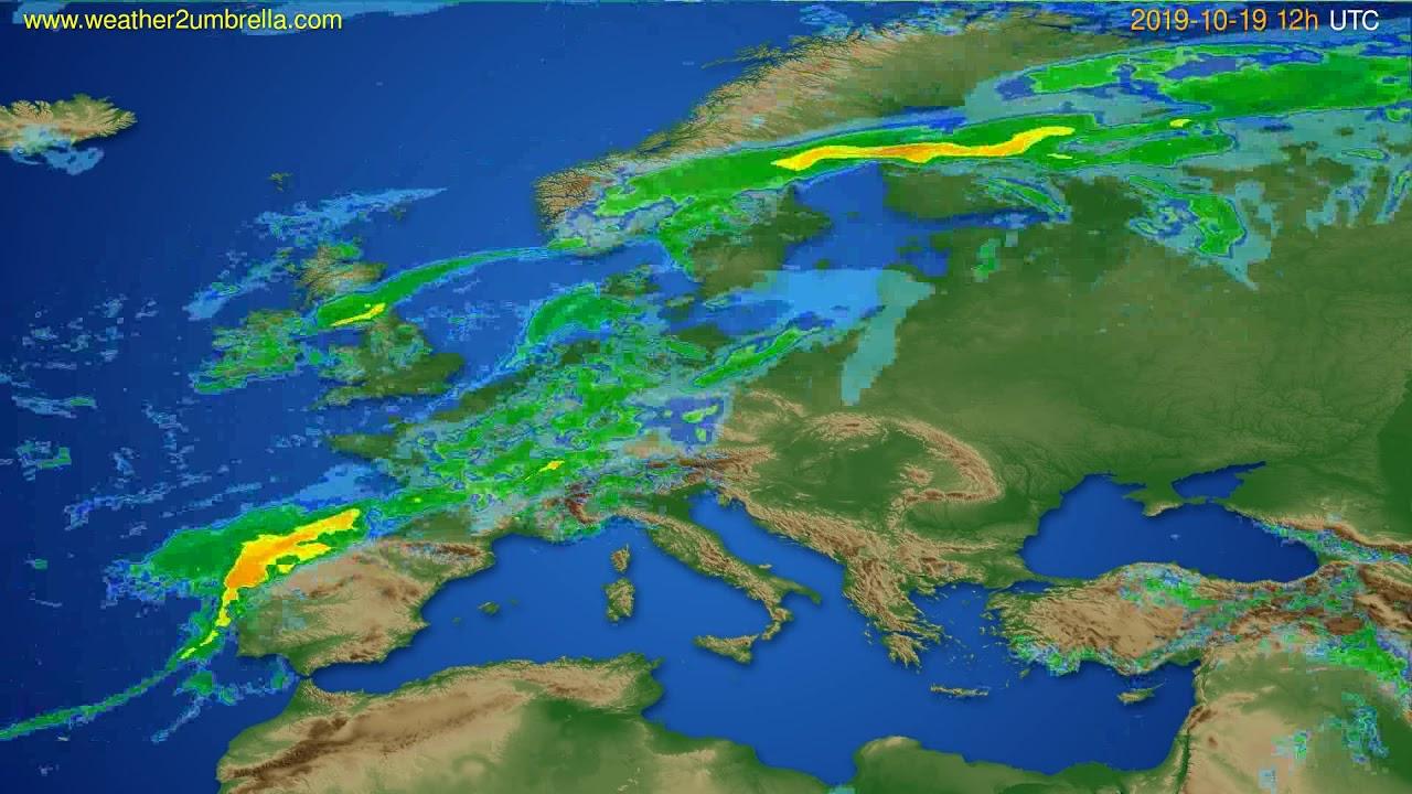 Radar forecast Europe // modelrun: 00h UTC 2019-10-19