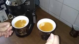 Кофеварка Delonghi 685. Готовим два эспрессо с пенкой одновременно.