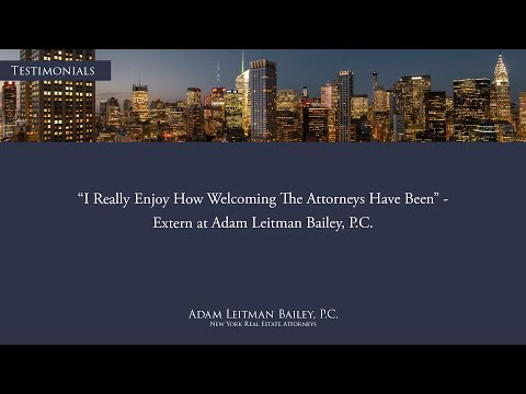 """""""I really enjoy how welcoming the attorneys have been"""" – Adam Leitman Bailey, P.C. testimonial video thumbnail"""