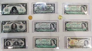 Canadian 1 Dollar Bills Starting in 1917 Ending in 1987