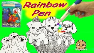 Disney Pixar Finding Dory + Lisa Frank Puppy Imagine Ink Rainbow Color Pen Surprise Pictures