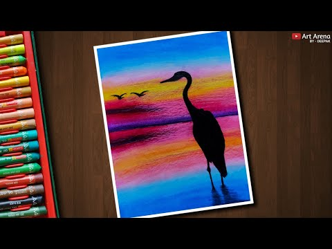 Egret Sunset Landscape Drawing For Beginners With Oil Pastels Step