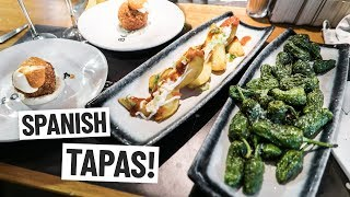 Spanish Food - DELICIOUS TAPAS At Barcelonas Boqueria Market! (Americans Try Spanish Food)