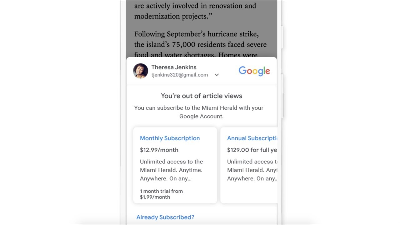 Learn more about Subscribe with Google
