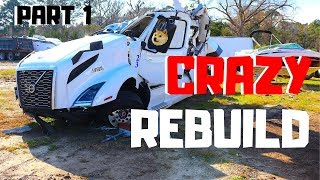 CRAZY WRECKED SALVAGE 2019 Volvo VNL Semi Truck Bought At Copart | Rebuild PART 1 |