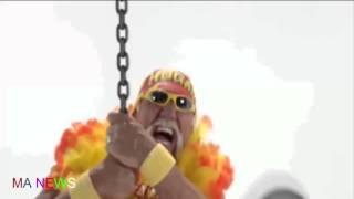 wwe star | hulk hogans | straddles a wrecking ball while wearing a thong