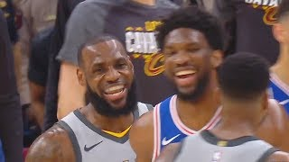 LeBron James Stares Down Joel Embiid After Scaring Him with Dunk & Both Laugh It Off!