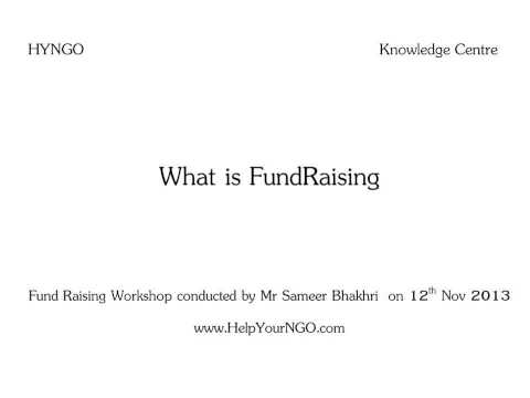 What is FundRaising