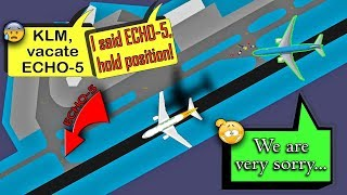 A KLM B77W exits the WRONG TAXIWAY FULL OF VEHICLES!