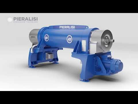 Pieralisi | animazione 3D - Decanter centrifugo per separazione solido liquido (due fasi)