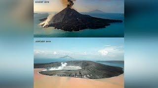 Viral Video Kondisi Terkini Gunung Anak Krakatau, Puncak Hilang dan Air Laut Berubah Jadi Orange