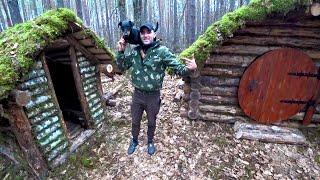 Построил лесную баню.Жареная картошка с овощами и мясом в казане.