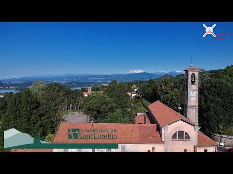La chiesa parrocchiale di Luvinate ripresa col drone