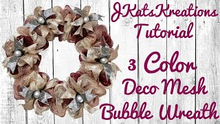 How To Make A Deco Mesh Bubble Wreath Tutorial [with 3 Colors]