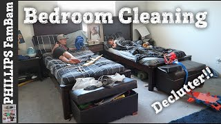 BOYS BEDROOM CLEAN OUT | EXTREME CLEANING & DECLUTTERING BOYS ROOM | PHILLIPS FamBam Clean With Me