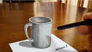 3D Drawing - Mug On Paper