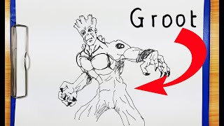 How To Draw GROOT | How To turn Words GROOT into a Cartoon | Drawing Groot Avenger Endgame