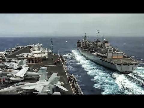 How Aircraft Carriers are Resupplied at Sea