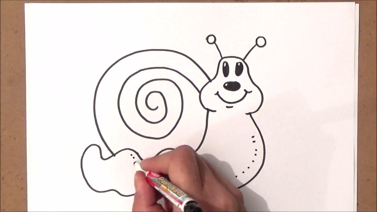 Video como dibujar un caracol   como dibujar un caracol paso a paso