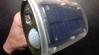 A look inside a solar powered LED security light.