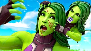 MOTHER VS DAUGHTER - BABY SHE-HULK ATTACKS MOM.... ( Fortnite Short )