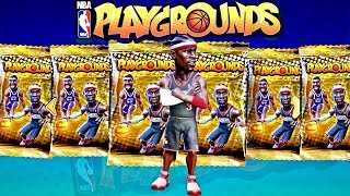 NBA Playgrounds Crazy Gold Pack Opening! | LEGEND PULLS SO MANY PACKS 😱 SO MANY LEGENDS 3 IVERSONS!