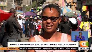 34-year old Grace Wambere holds a degree but sells second hand clothes