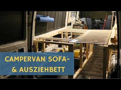 Sprinter Wohnmobil / Campervan Selbstausbau: Bett zum Ausziehen