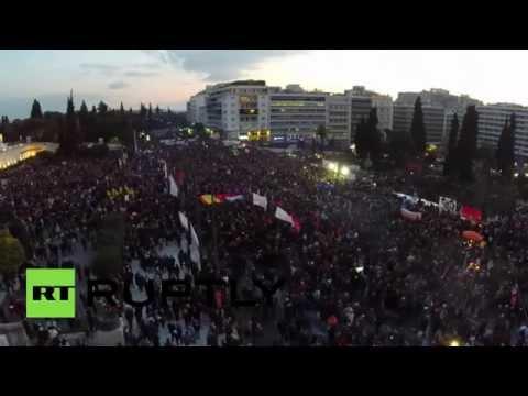 Η μεγάλη σημερινή συγκέντρωση στο Σύνταγμα από drone (video)