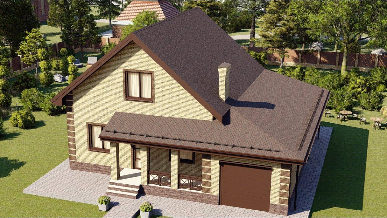 Большой мансардный дом из газобетона с гаражом 200 кв.м