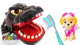 Learn Colors Video For Kids: Paw Patrol Skye is a Dentist Learn to Brush Teeth Godzilla Dinosaur