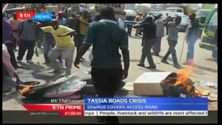Residents of Nairobi's Tassia estate protest poor state of roads in the area