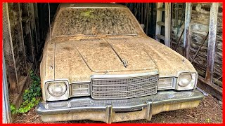 Abandoned Plymouth Volare 1977 model. Abandoned cars in USA. Barn Find Classic car