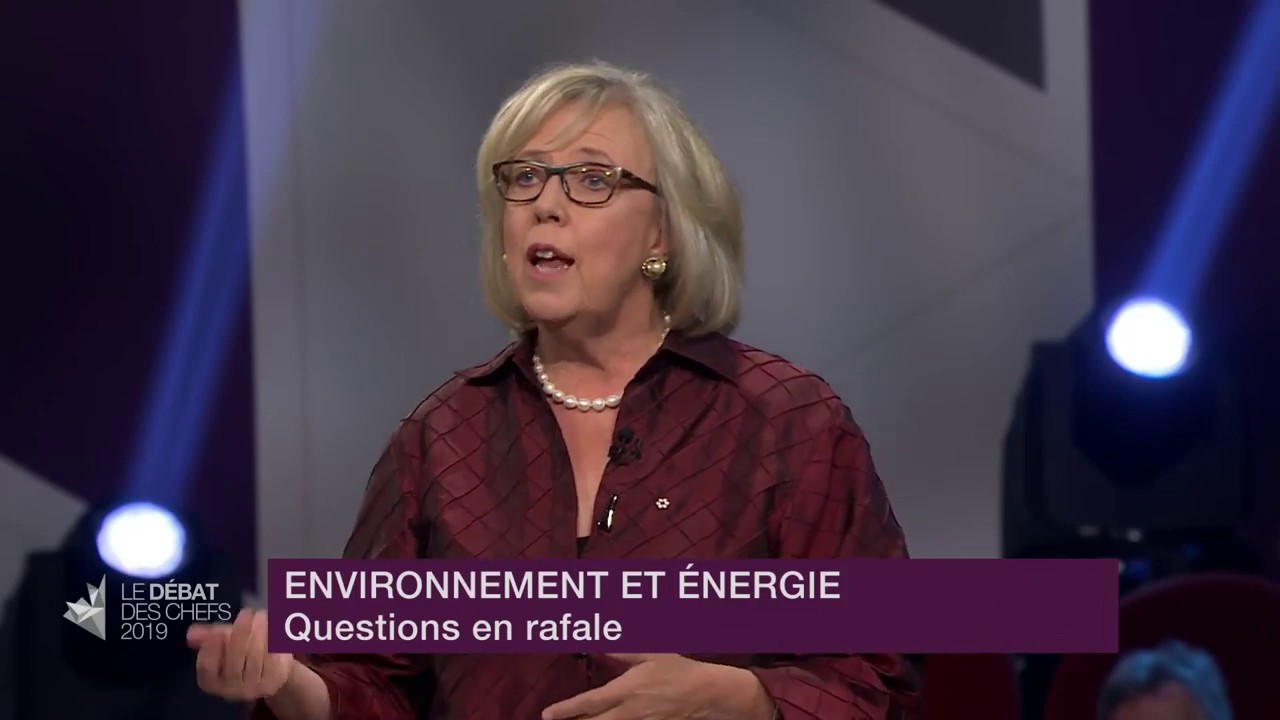 Elizabeth May answers a question about economic downturn
