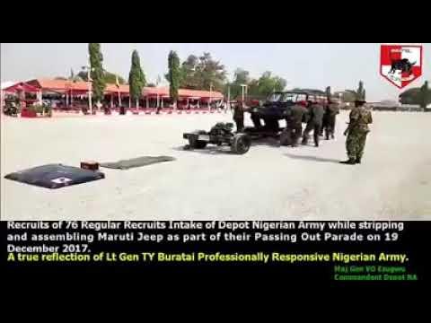 Recruits of 76 Regular Recruits Intake Depot Nigerian Army incredible display.