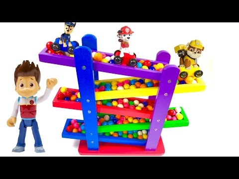 Best Learning Colors Video for Children - Paw Patrol Cars and Gumball Race Down Ramps!