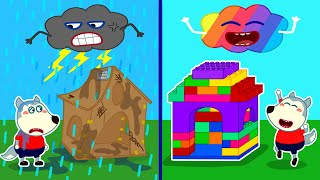 Baby Wolf Builds Colorful Lego Playhouse - LEGO Friendship House   Wolfoo Channel