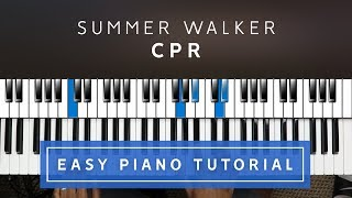 Summer Walker   CPR EASY PIANO TUTORIAL
