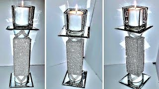 DIY Dollar Tree Glam / BLING TOWER CANDLE HOLDER  NEW